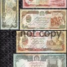 Afghanistan 5pc. Banknote Set Foreign Paper Money
