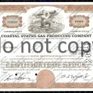 Coastal States Gas Producing Company Old Stock Certificate Brown