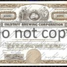 Falstaff Brewing Corporation Old Stock Certificate Beer