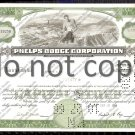Phelps Dodge Corporation Old Stock Certificate Green