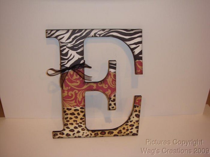 WOODEN LETTER(s) E CAN BE CUSTOMIZED--ZEBRA/LEOPARD/RED