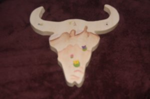 Western Painted Wooden CowSkull 4
