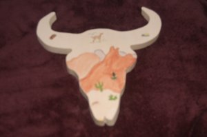 Western Wooden Painted Cowskull 3