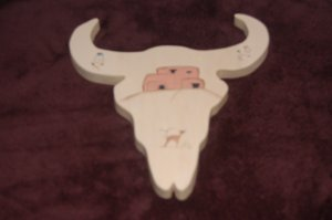 Painted Wooden Western Cowskull 2