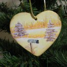 Gold Heart Winter Tree and Mailbox Scene