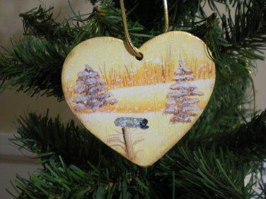 Gold Heart Winter Tree and Mailbox Scene