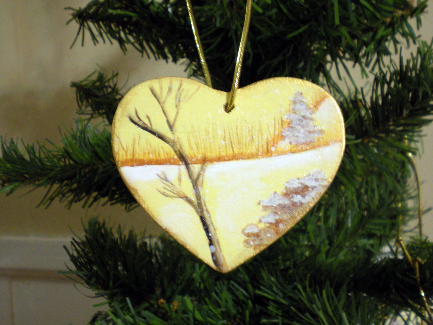 Gold Heart Winter Trees Scence