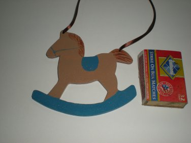 Brown and Blue Rockinghorse Ornament & Gift Tag
