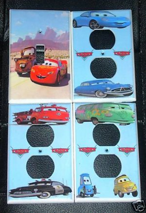 Disney Pixar CARS LIGHT SWITCH & OUTLET COVERS *LOOK*
