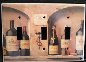 WINE BOTTLES TRIPPLE LIGHT SWITCH COVER  Room Decor