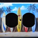 SURFBOARDS & PALM TREES OUTLET COVER horizontal instal