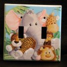 JUNGLE BABIES DOUBLE LIGHT SWITCH PLATE * ADORABLE *