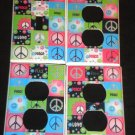 Neon PEACE SIGNS & FLOWERS LIGHT SWITCH & OUTLET COVERS