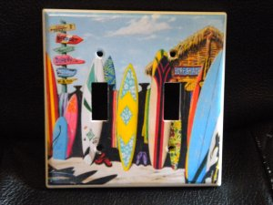 SURF SHACK SURFBOARDS DOUBLE LIGHT SWITCH COVER