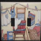 CLOTHES LINE WASHBOARD & TUB DOUBLE LIGHT SWITCH COVER