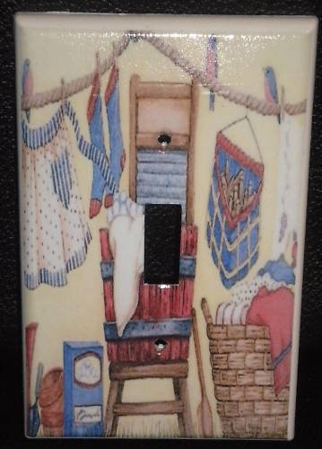 CLOTHES LINE WASHBOARD & TUB LIGHT SWITCH COVER Laundry