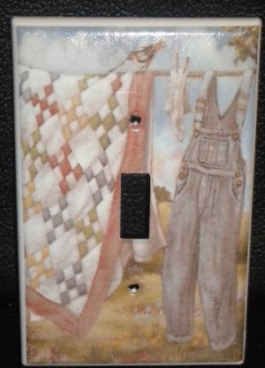 CLOTHES on a CLOTHES LINE LIGHT SWITCH COVER Laundry
