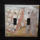 CLOTHES on a CLOTHES LINE DOUBLE LIGHT SWITCH COVER