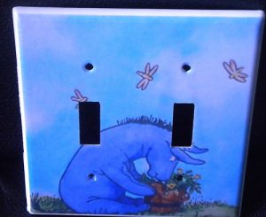 CLASSIC EEYORE DOUBLE LIGHT SWITCH COVER *classic pooh