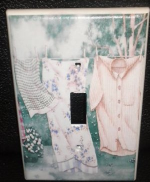 COUNTRY LAUNDRY on the LINE LIGHT SWITCH COVER Decor