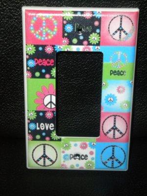 Neon PEACE SIGNS & FLOWERS LIGHT SWITCH Rocker / GFI