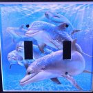 DOLPHINS DOUBLE LIGHT SWITCH COVER LOOK blue water