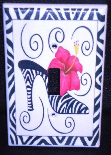 ZEBRA HIGH HEEL Hot PINK Flower LIGHT SWITCH COVER