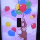 CURIOUS GEORGE LIGHT SWITCH COVER PINK clouds & ballons
