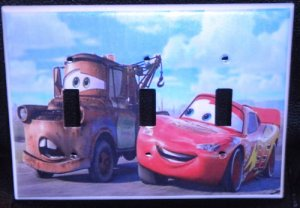 Disney Pixar CARS TRIPPLE LIGHT SWITCH COVER *LOOK*