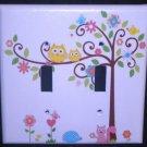 Dena HAPPI TREE DOUBLE LIGHT SWITCH plate Owls switch plate Kids Line Happi Tree