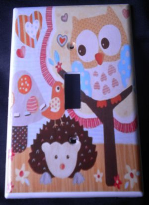 Circo LOVE and NATURE OWL LIGHT SWITCH plate Owls single switch plate Yellow