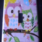 Circo LOVE and NATURE OWL LIGHT SWITCH plate Owls single switch plate PINK cute!
