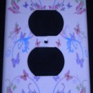 PINK and PURPLE BUTTERFLIES OUTLET COVER outlet plate Butterfly Heart Decor