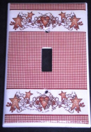Linda Spivey HEARTS and STARS LIGHT SWITCH COVER switch plate kitchen/bath decor