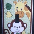 Jungle Safari Animals LIGHT SWITCH plate Monkey & Giraffe single switch plate