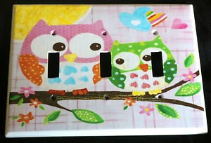 Circo LOVE and NATURE OWL TRIPLE LIGHT SWITCH plate Owls PINK cute Triple switch