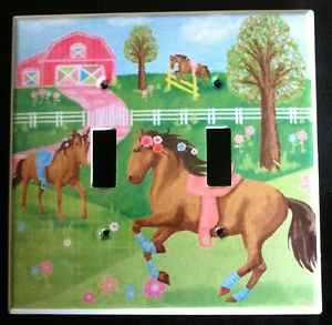 Circo PRETTY HORSES DOUBLE LIGHT SWITCH plate Horses double switch plate CUTE!