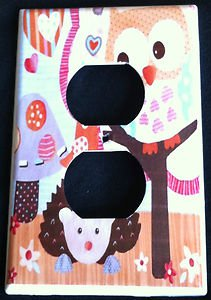 Circo LOVE and NATURE OWL OUTLET plate cover Owls outlet plate Yellow CUTE!