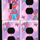 ABBY CADABBY LIGHT SWITCH & OUTLET COVERS Sesame Street ADORABLE! Pink & Purple