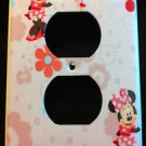 MINNIE MOUSE OUTLET COVER Pink Minnie with Pink Flowers Outlet Plate Cover