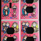 BOBBY JACK LIGHT SWITCH & OUTLET COVERS * Text Me LOL * Monkey PINK CUTE!