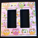 Circo LOVE and NATURE OWL DOUBLE GFI OUTLET / ROCKER LIGHT SWITCH Plate PINK