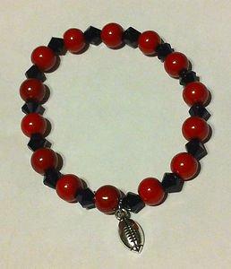 Handmade ATLANTA FALCONS Football Team Colors BRACELET Pearl & Crystal