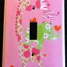 Jungle Jill LIGHT SWITCH plate Pink Giraffe Zebra Elephant Monkey CUTE