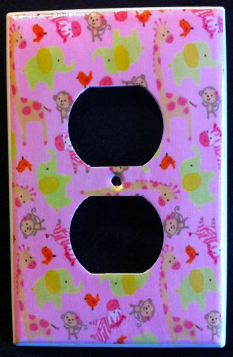 Jungle Jill OUTLET plate Pink Giraffe Zebra Elephant Monkey CUTE outlet cover