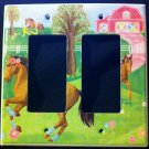 Circo PRETTY HORSES Double Rocker LIGHT SWITCH plate / GFI Outlet Horses CUTE!