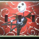 NIGHTMARE BEFORE CHRISTMAS Triple LIGHT SWITCH COVER Jack Skellington Red