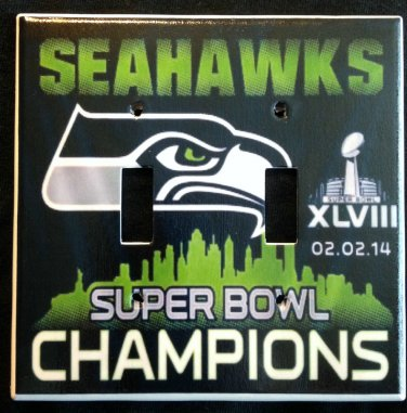 SEATTLE SEAHAWKS Super Bowl XLVIII CHAMPIONS Double LIGHT SWITCH COVER