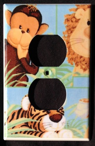 JUNGLE BABIES OUTLET COVER Monkey Lion Tiger *ADORABLE * Patty Reed Outlet plate