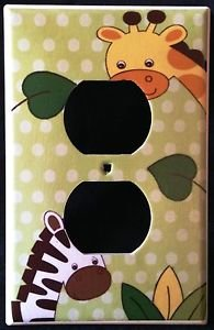 Jungle Safari Animals OUTLET plate Zebra & Giraffe outlet plate cover CUTE